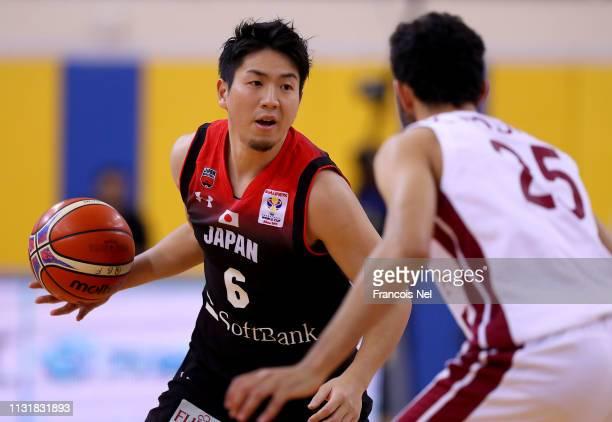 Makoto Hiejima of Japan controls the ball during the FIBA Basketball World Cup 2019 Asian Qualifier between Qatar and Japan at Al Gharrafa Sport...