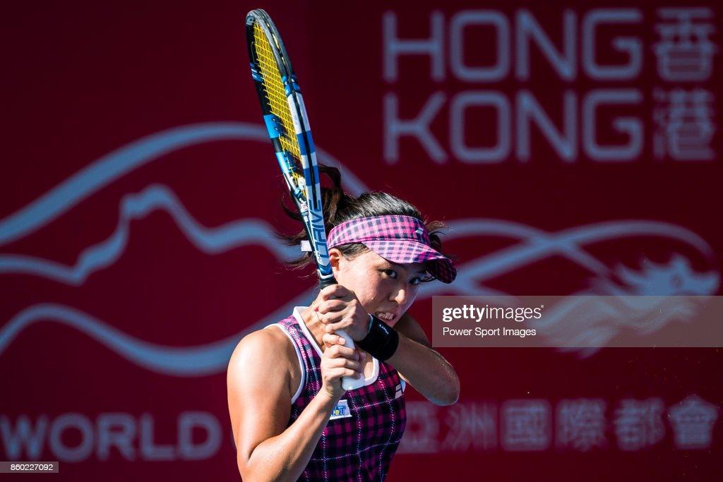 Makoto Ninomiya of Japan in action during the Prudential Hong Kong Tennis Open 2017 womenÕs double at Victoria Park on October 11, 2017 in Hong Kong, Hong Kong.