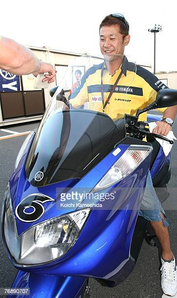 Makoto Tamada of Japan and Dunlop Yamaha poses during the buildup for Round 15 of the 2007 MotoGP World Championship the Japanese Grand Prix held at...