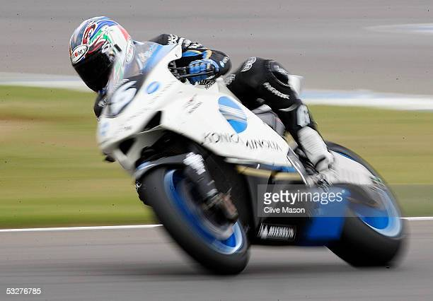 Makoto Tamada of Japan and Konica Minolta Honda in action during qualifying for the British Moto GP at Donington Park on July 23 in Donington England
