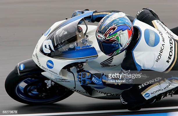 Makoto Tamada of Japan and Konica Minolta Honda in action during second free practice for the British Moto GP at Donington Park on July 22 in...