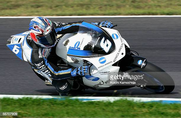 Makoto Tamada of Japan and Konica Minolta Honda in action during the qualifying practice session of the Japan Grand Prix in Twin Ring Motegi on...
