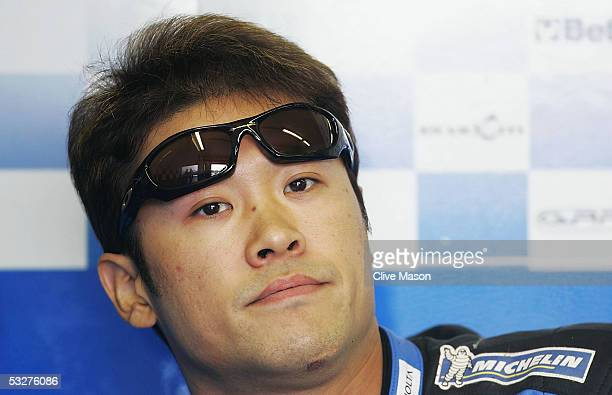 Makoto Tamada of Japan and Konica Minolta Honda prepares for third free practice for the British Moto GP at Donington Park on July 23 in Donington...