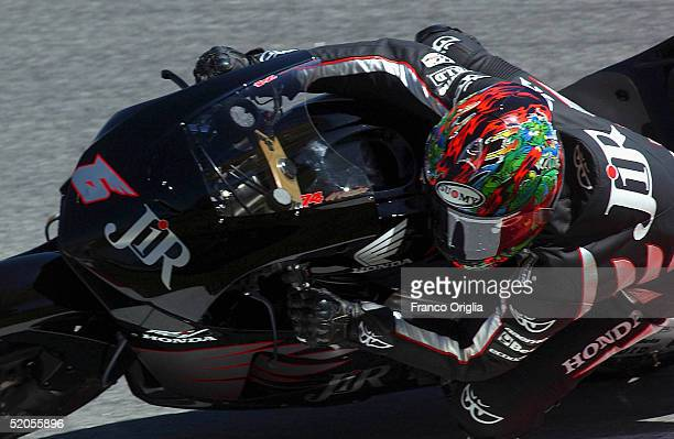 Makoto Tamada of Japan and Konica Minolta Honda Team in action during the MotoGP testing session at the Sepang Circuit January 24 2005 in Sepang...