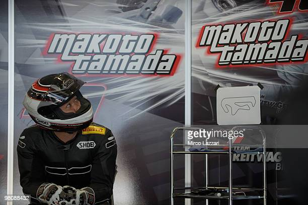 Makoto Tamada of Japan and Team Reitwagen BMW looks on in box during the Superbike World Championship round two at Algarve Motor Park on March 27...