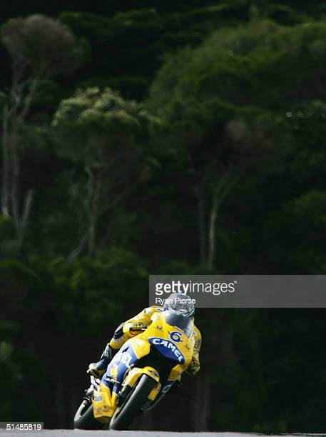 Makoto Tamada of Japan and the Camel Honda Team in action during qualifying for the Australian Motorcycle Grand Prix which is round fifteen of the...