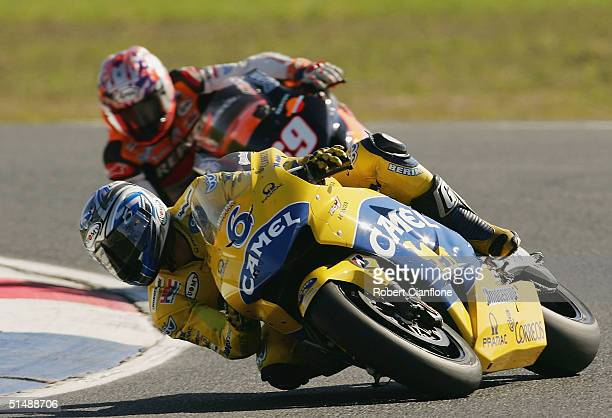 Makoto Tamada of Japan and the Camel Honda Team in action during the Australian MotoGp which is round 15 of the MotoGp Championship Series at the...