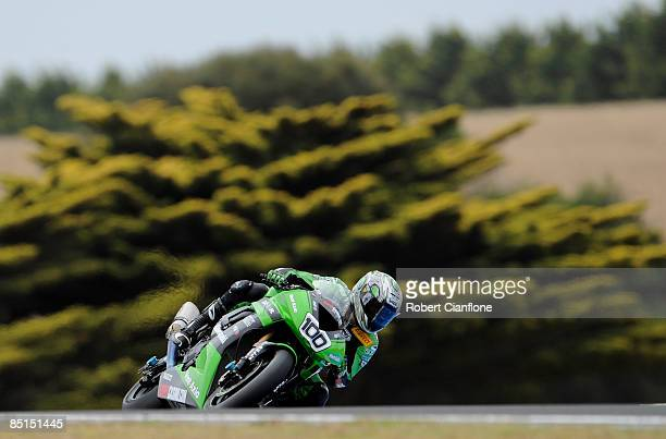 Makoto Tamada of Japan and the Kawasaki World Superbike Team rides over Lukey Heights during the qualifying practice session for round one of the...