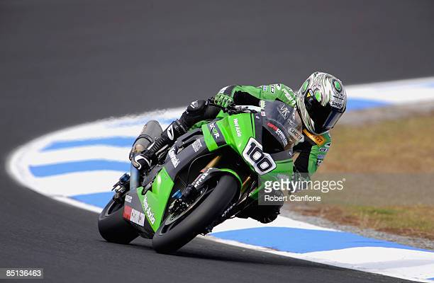 Makoto Tamada of Japan and the Kawasaki World Superbike Team takes a corner during practice for round one of the Superbike World Championship at the...