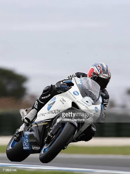 Makoto Tamada of Japan and the Konica Minolta Honda Team in action during the practice session for the Australian Motorcycle Grand Prix at the...