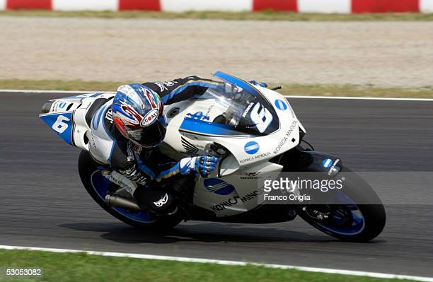 Makoto Tamada of Japan in action during the qualifying session of the motorcycle Grand Prix of Catalunya at Montmelo Circuit on June 11 in Barcelona...