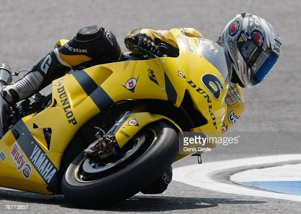 Makoto Tamada of Japan rides his Yamaha motorbike during the MotoGP Qualifying Practice at the Estoril racetrack in the MotoGP of Portugal September...