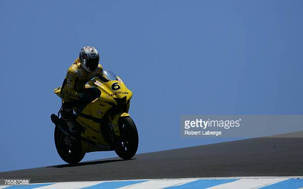 Makoto Tamada rides the Team Dunlop Yamaha during qualifying for the 2007 Red Bull US Grand Prix part of the MotoGP World Championships at the Mazda...