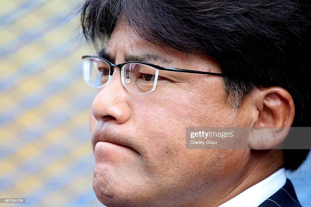 Makoto Teguramori, coach of Japan looks on during the AFC U23 Championship Qualifier Group I match between Japan and Macau at Shah Alam Stadium on March 27, 2015 in Shah Alam, Malaysia.