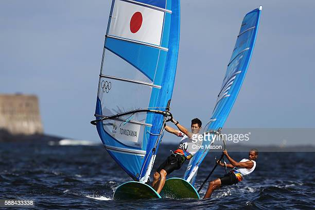 Makoto Tomizawa of Japan competes in the Men's RSX class races on Day 6 of the Rio 2016 Olympics at Marina da Gloria on August 11 2016 in Rio de...