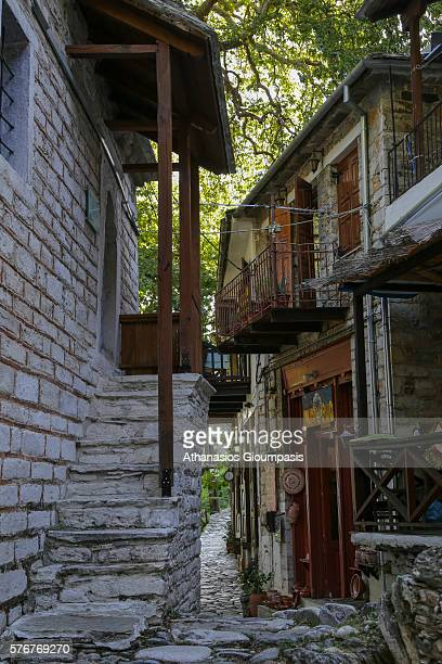 Makrinitsa village with traditional Pelion architecture on July 07 2016 in PelionGreece