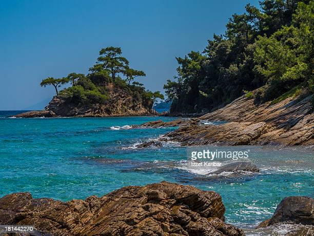 makryammos beach, thassos, greece - thasos stock photos and pictures