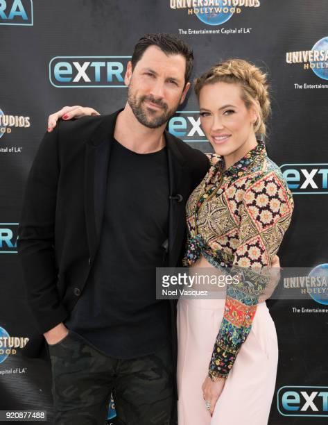 Maks Chmerkovskiy and Peta Murgatroyd visit Extra at Universal Studios Hollywood on February 19 2018 in Universal City California