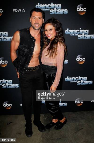Maks Chmerkovskiy and Vanessa Lachey attend 'Dancing With The Stars' season 25 taping at CBS Televison City on September 26 2017 in Los Angeles...