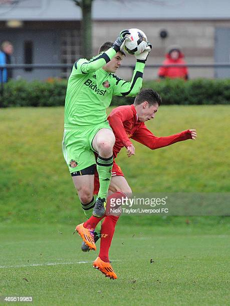 Maks Stryjek of Sunderland and Harry Wilson of Liverpool in action during the Barclays Premier League Under 18 fixture between Liverpool and...