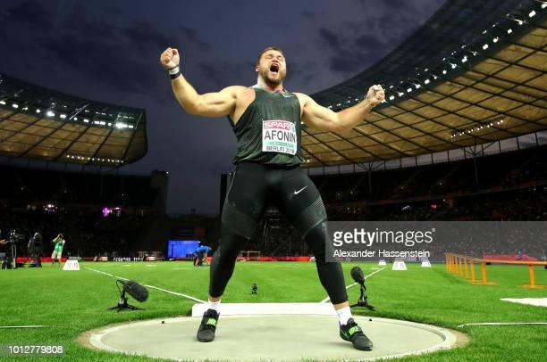 Maksim Afonin of Authorised Neutral Athlete celebrates his throw in the Men's Shot Put Final during day one of the 24th European Athletics...