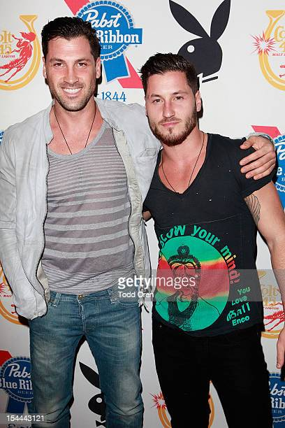 Maksim Chermovskly and Valentin Chermovskly pose at the Snoop Dogg Presents Colt 45 Works Every Time at The Playboy Mansion Party with Evan and Daren...