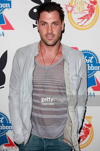 Maksim Chermovskly poses at the Snoop Dogg Presents Colt 45 Works Every Time at The Playboy Mansion Party with Evan and Daren Metropulos on October...