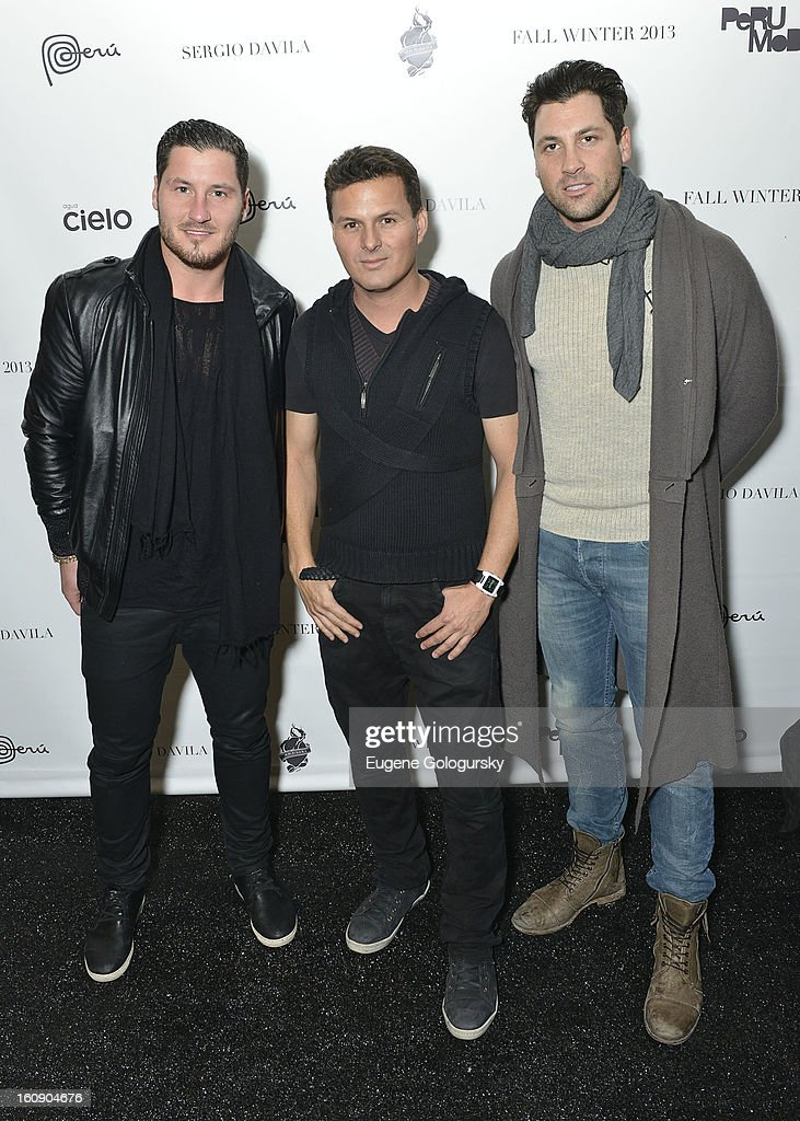 Maksim Chmerkovkskiy, Sergio Davila and Valentin Chmerkovskiy attend Sergio Davila during Fall 2013 Mercedes-Benz Fashion Week at The Studio at Lincoln Center on February 7, 2013 in New York City.
