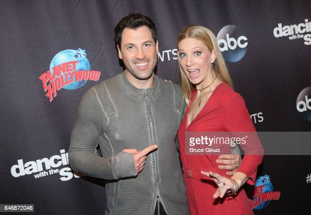 Maksim Chmerkovskiy and Heather Morris pose at the 'DWTS Season 24 cast Announcement Press Junket' at Planet Hollywood Times Square on March 1 2017...