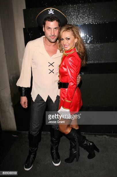 Maksim Chmerkovskiy and Karina Smirnoff attend Kim Kardashian's Halloween party hosted by PAMA at Stone Rose on October 30, 2008 in Los Angeles,...