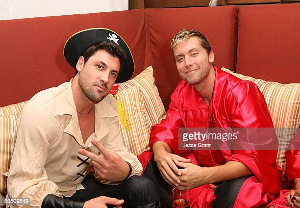 Maksim Chmerkovskiy and Lance Bass attend Kim Kardashian's Halloween party hosted by PAMA at Stone Rose on October 30, 2008 in Los Angeles,...