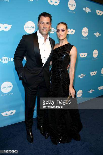 Maksim Chmerkovskiy and Peta Murgatroyd Chmerkovskiy attend the 7th Annual UNICEF Masquerade Ball 2019 at Kimpton La Peer Hotel on October 26 2019 in...