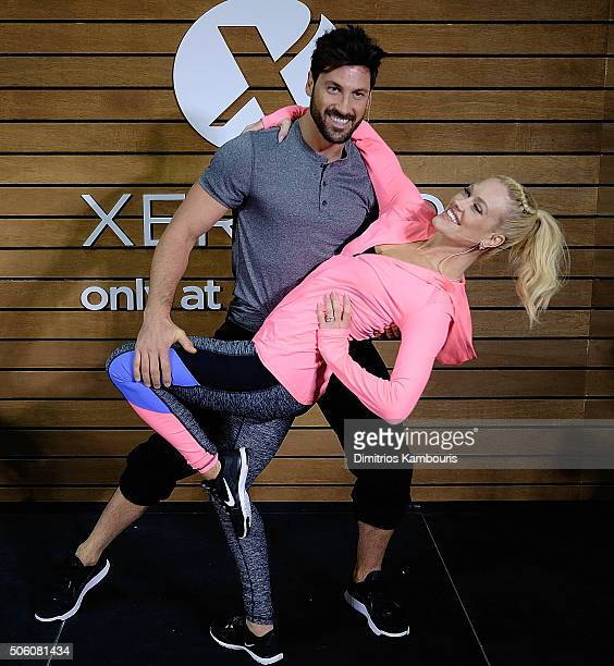 Maksim Chmerkovskiy and Peta Murgatroyd teach shoppers dance moves to help keep active fit at JCPenney on January 21 2016 in New York City