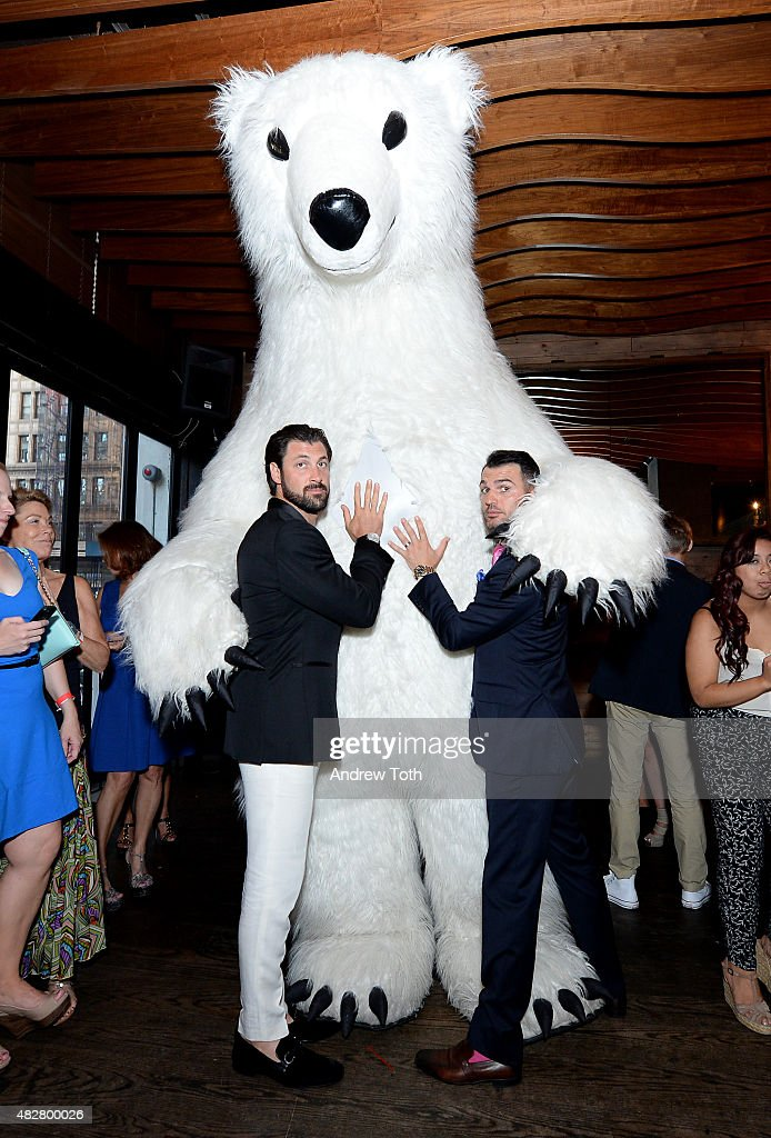 Maksim Chmerkovskiy (L) and Tony Dovolani attend the Dance with Me 10th anniversary party at Ainsworth Park on August 2, 2015 in New York City.