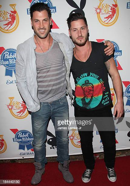 Maksim Chmerkovskiy and Val Chmerkovskiy attend Snoop Dogg Presents Colt 45 'Works Every Time' mansion party with Evan and Daren Metropoulos at The...