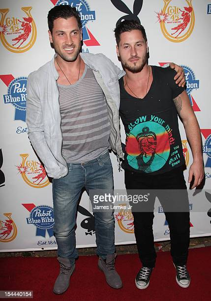 Maksim Chmerkovskiy and Val Chmerkovskiy attend Snoop Dogg Presents Colt 45 Works Every Time mansion party with Evan and Daren Metropoulos at The...