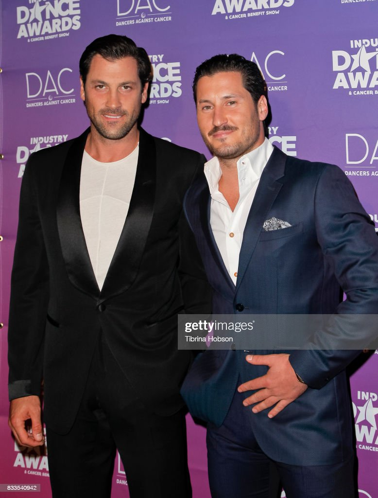 Maksim Chmerkovskiy and Val Chmerkovskiy attend the 2017 Industry Dance Awards and Cancer Benefit Show at Avalon on August 16, 2017 in Hollywood, California.