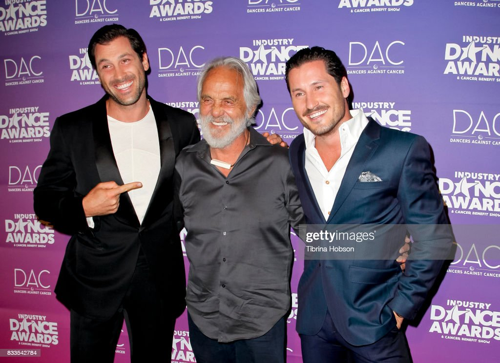Maksim Chmerkovskiy, Tommy Chong and Val Chmerkovskiy attend the 2017 Industry Dance Awards and Cancer Benefit Show at Avalon on August 16, 2017 in Hollywood, California.