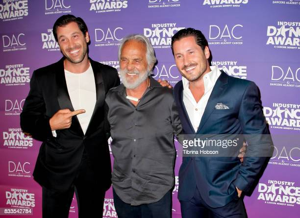 Maksim Chmerkovskiy Tommy Chong and Val Chmerkovskiy attend the 2017 Industry Dance Awards and Cancer Benefit Show at Avalon on August 16 2017 in...
