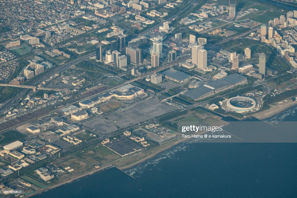 Makuhari Messe in Chiba in Japan sunset time aerial view from airplane : ストックフォト