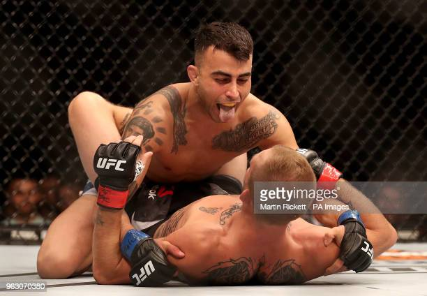 Makwan Amirkhani in action against Jason Knight during UFC Fight Night at the Liverpool Echo Arena