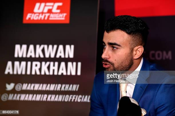 Makwan Amirkhani of Finland interacts with media during the UFC Ultimate Media Day at Glaziers Hall on March 16 2017 in London England