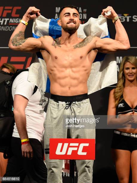 Makwan Amirkhani of Finland poses on the scale during the UFC Fight Night weighin at The O2 arena on March 17 2017 in London England