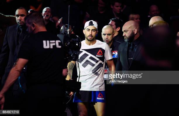 Makwan Amirkhani of Finland prepares to enter the Octagon before facing Arnold Allen of England in their featherweight fight during the UFC Fight...