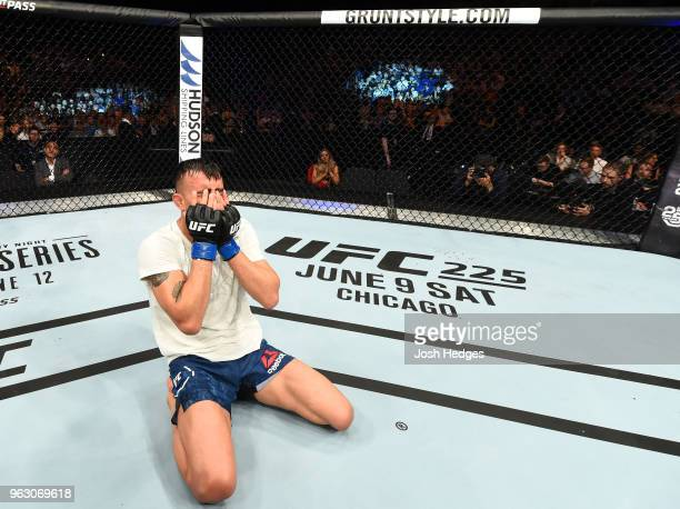 Makwan Amirkhani of Kurdistan celebrates his victory over Jason Knight in their featherweight bout during the UFC Fight Night event at ECHO Arena on...