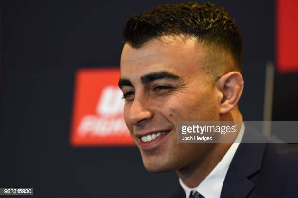 Makwan Amirkhani of Kurdistan interacts with media during the UFC Ultimate Media Day at BT Convention Centre on May 25 2018 in Liverpool England