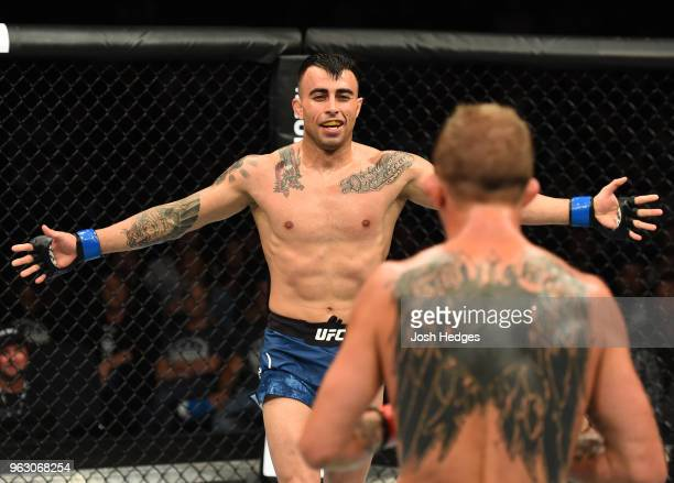 Makwan Amirkhani of Kurdistan taunts Jason Knight in their featherweight bout during the UFC Fight Night event at ECHO Arena on May 27 2018 in...