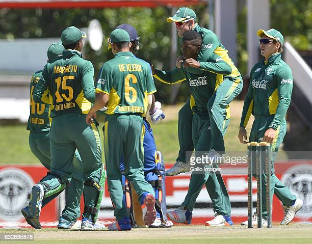 Makwetu of SA celebrate the wicket of S Ashan of Sri Lanka c Makwetu b Sipamla during the Youth Triangular Series Final match between South Africa...