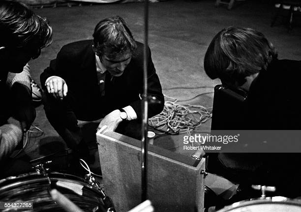 Mal Evans Neil Aspinall and Ringo Starr are pictured at the Donmar Rehearsal Theatre central London during rehearsals for The Beatles upcoming UK...