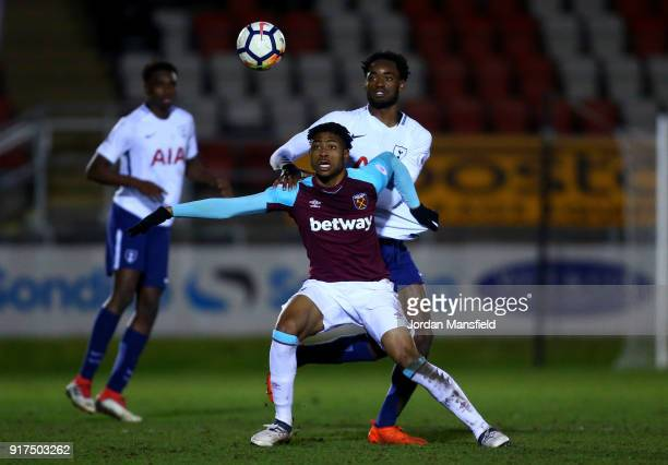 Mal HectorIngram of West Ham tackles with Christian Maghoma of Tottenham during the Premier League 2 match between West Ham United and Tottenham...